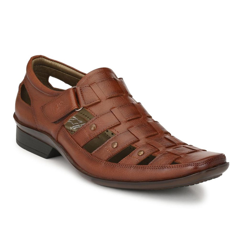 Hitz | Hitz Brown Genuine Leather Sandal For Men with Velcro Fastening
