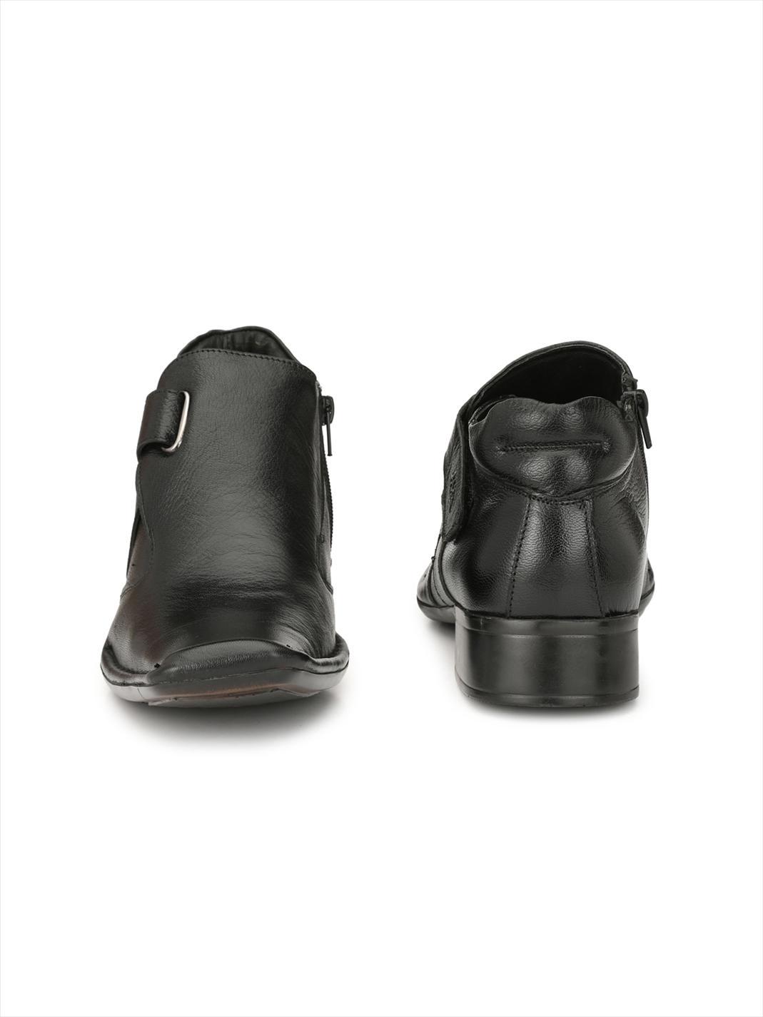 Hitz | Hitz Black Leather Boots For Men with Zip-Closure