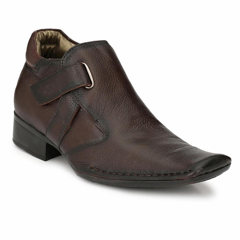 Hitz | Hitz Brown Leather Boots For Men with Zip-Closure