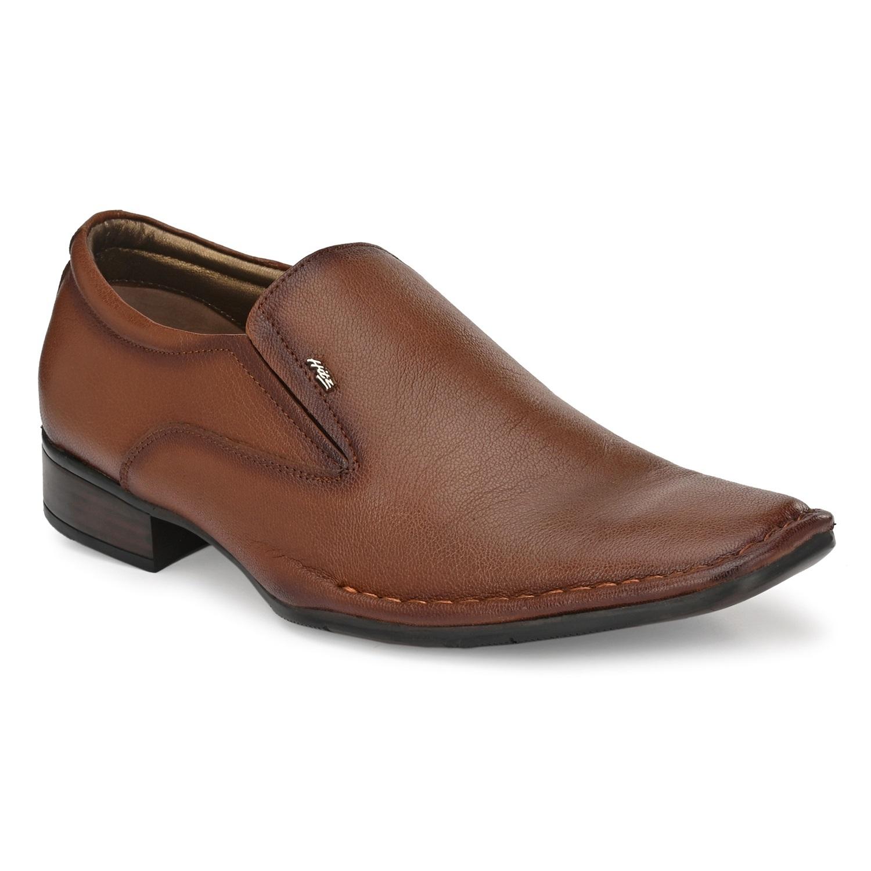 Hitz   Hitz Brown Tan_Leather Slip-On Formal Shoes For Men