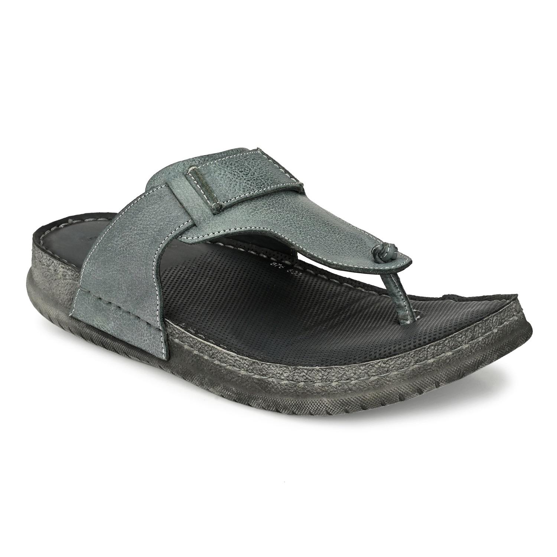 Hitz | Hitz Grey Leather Thong-Strap Slippers for Men
