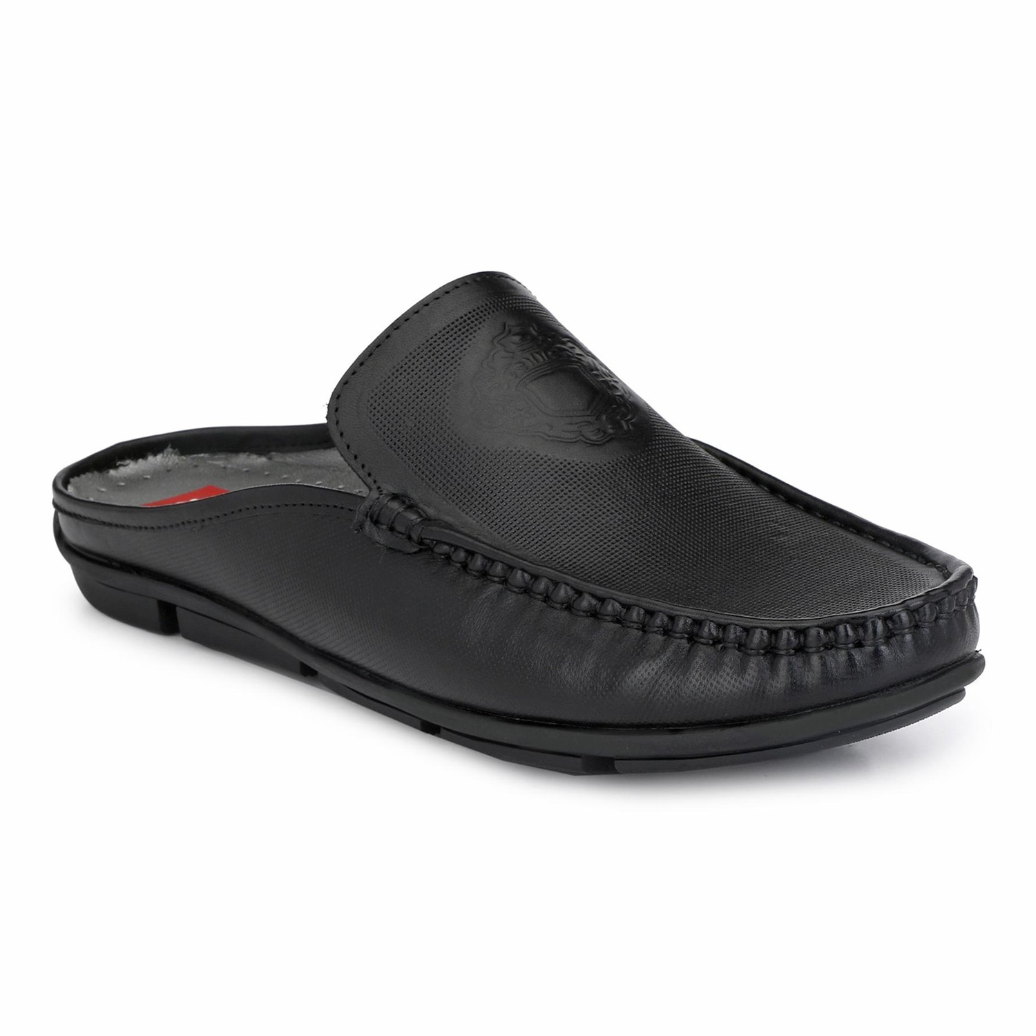 Hitz | Hitz Black Genuine Leather Casual Loafers with Slip-On Fastening