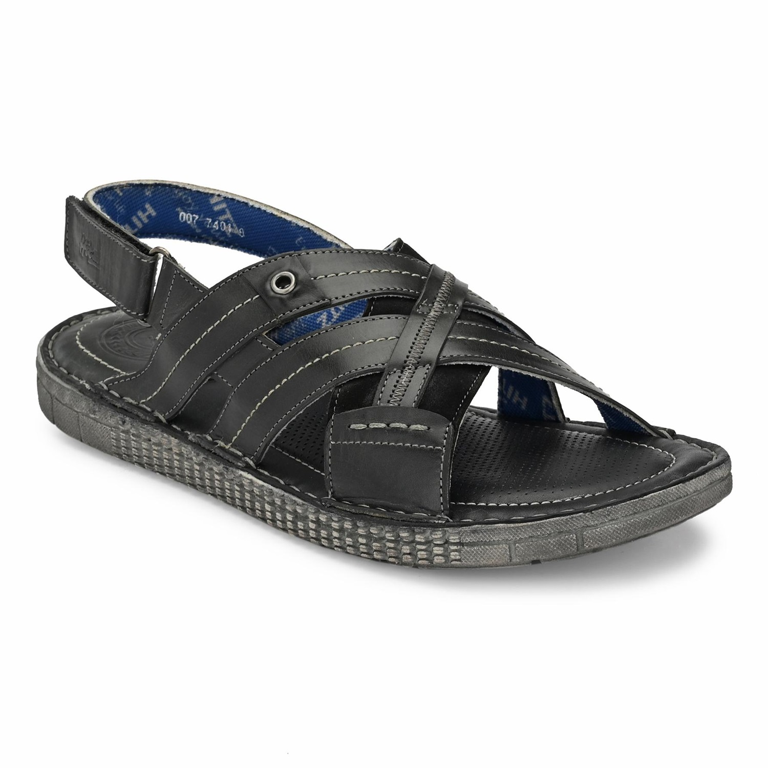 Hitz | Hitz Grey Casual Genuine Leather Sandal For Men with Velcro Fastening