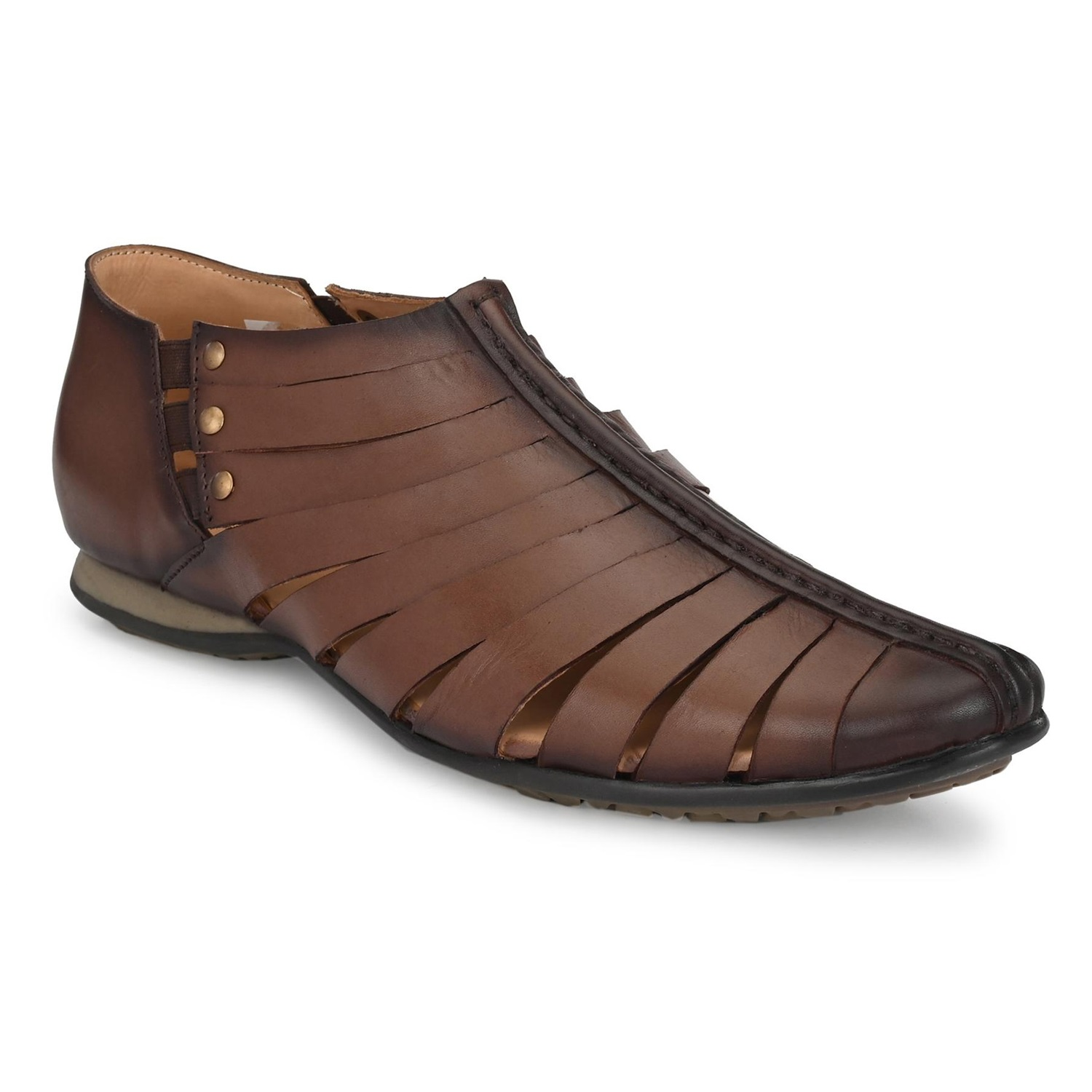 Hitz   Hitz Brown Casual Genuine Leather Sandal with Slip-On Fastening