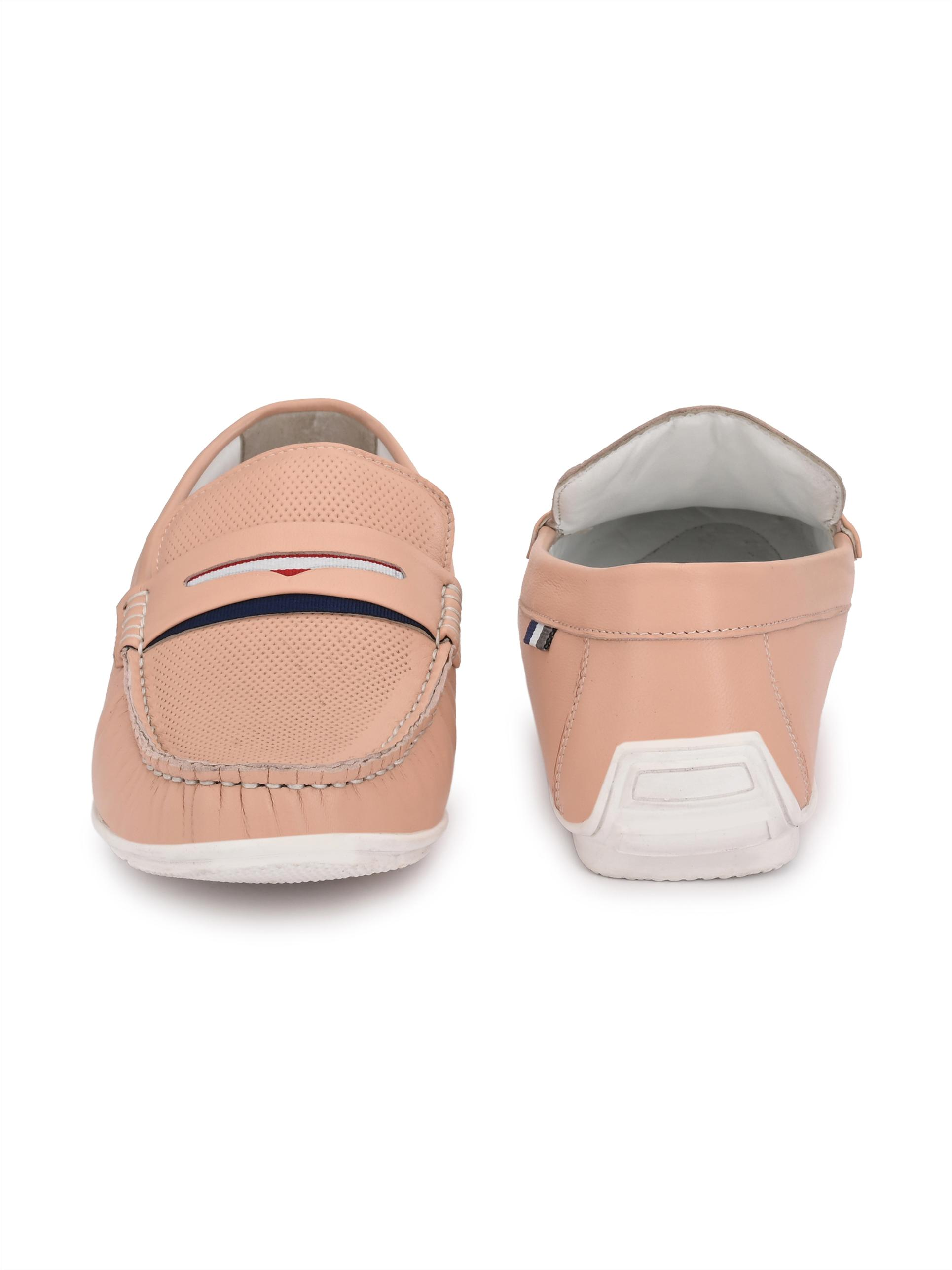 Hitz | Hitz Pink Genuine Leather Casual Loafers For Men with Slip-On Fastening