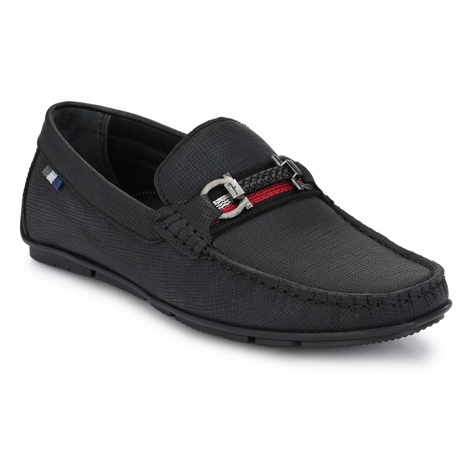 Hitz   Hitz Black Genuine Leather Casual Loafers with Slip-On Fastening
