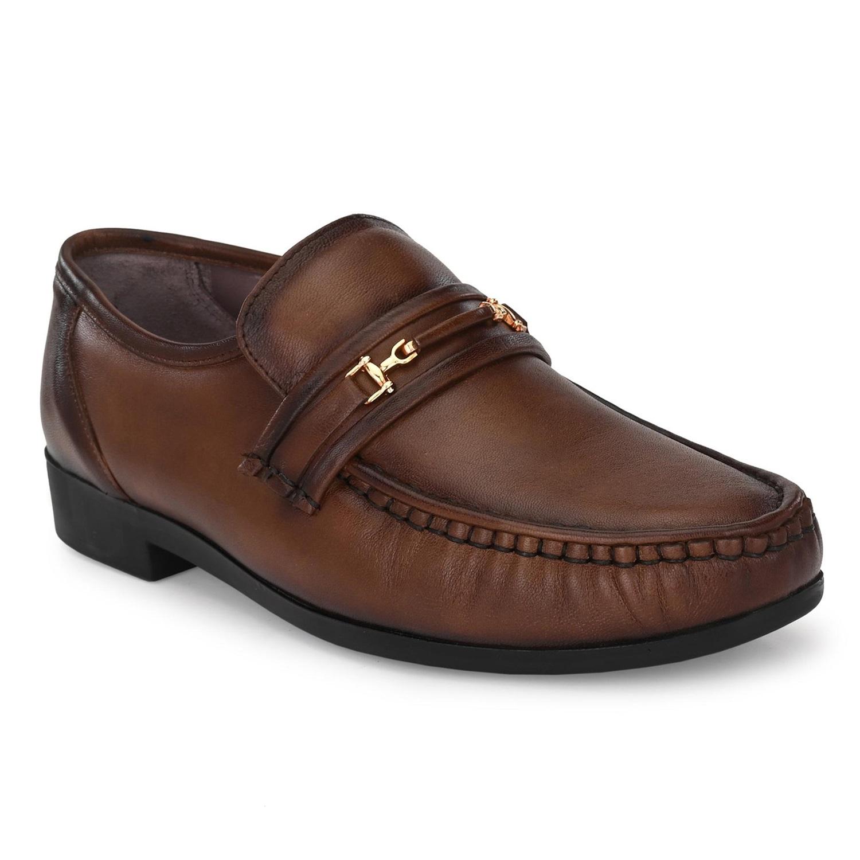 Hitz | Hitz Brown Leahter Comfort_ Slip-On Shoes For Men
