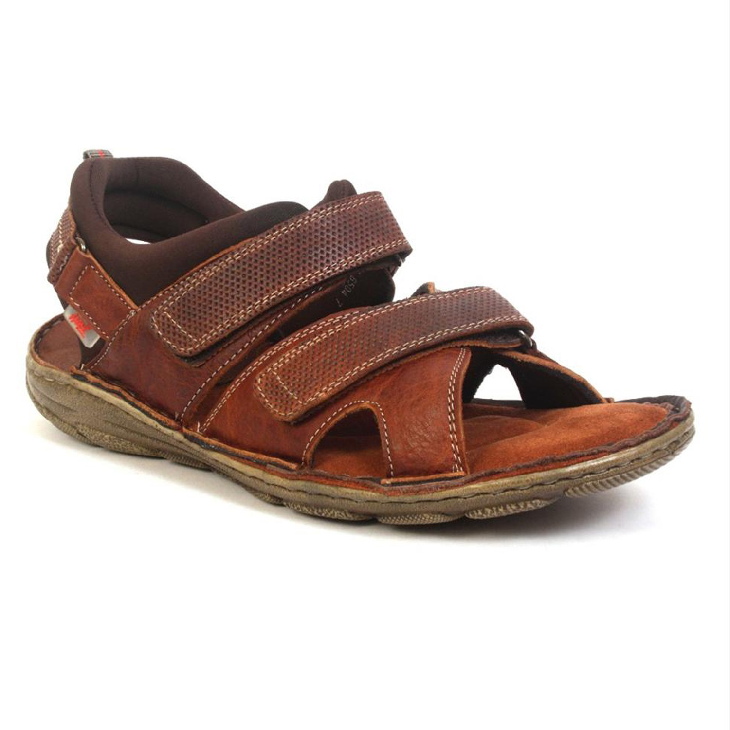 Hitz   Hitz Brown Casual Genuine Leather Sandal with Velcro Fastening