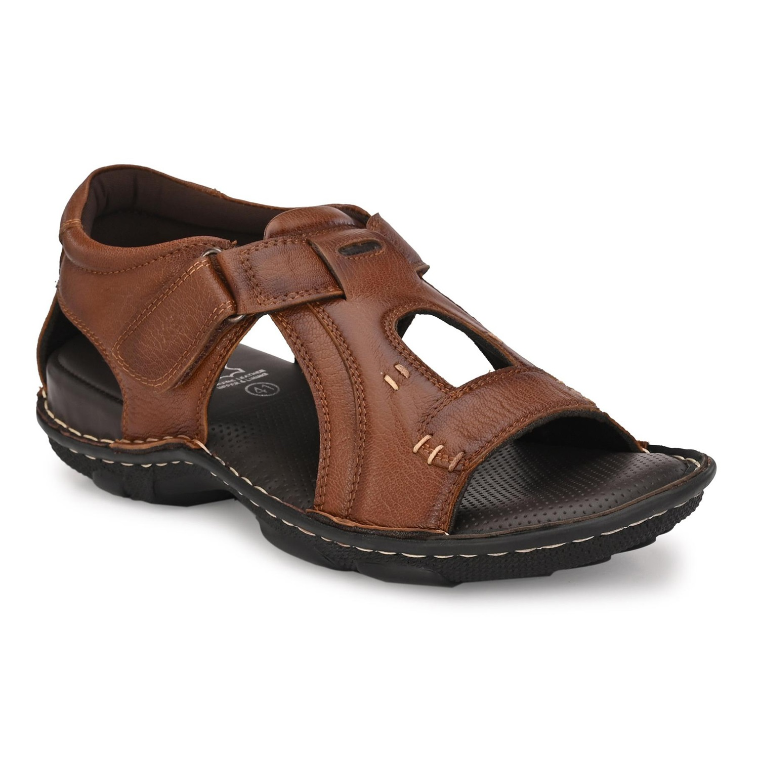 Hitz | Hitz Brown Casual Genuine Leather Sandal with Velcro Fastening