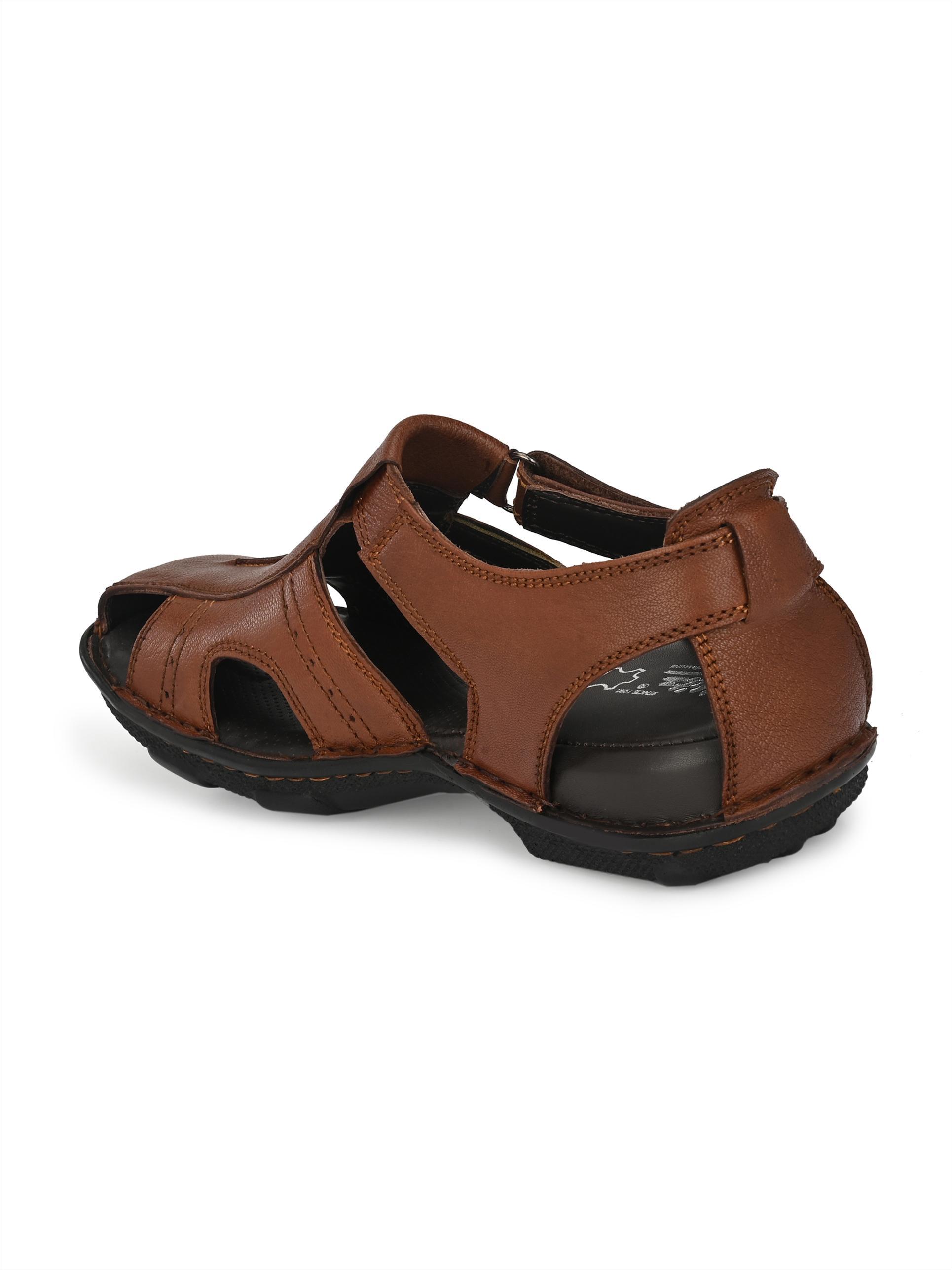 Hitz | Hitz Brown Genuine Leather Office Wear Sandal with Velcro Fastening