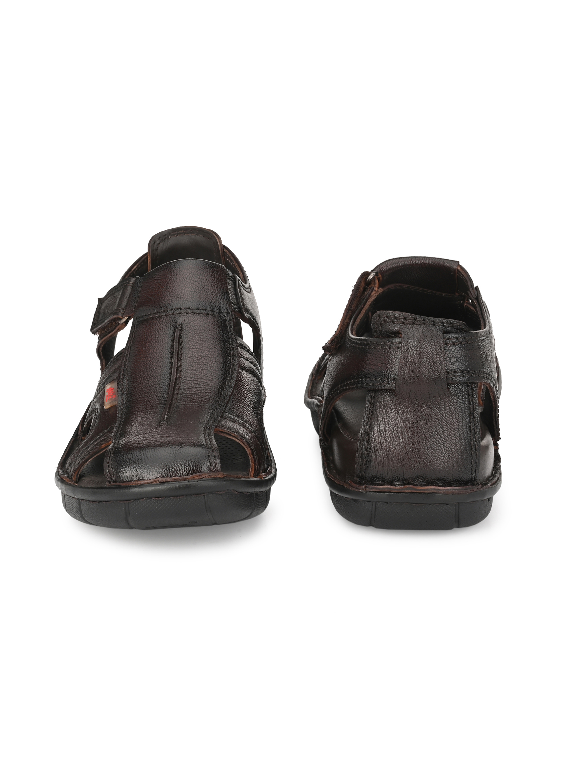 Hitz | Hitz Brown Totone_Leather Sandals For Men with Velcro Closure