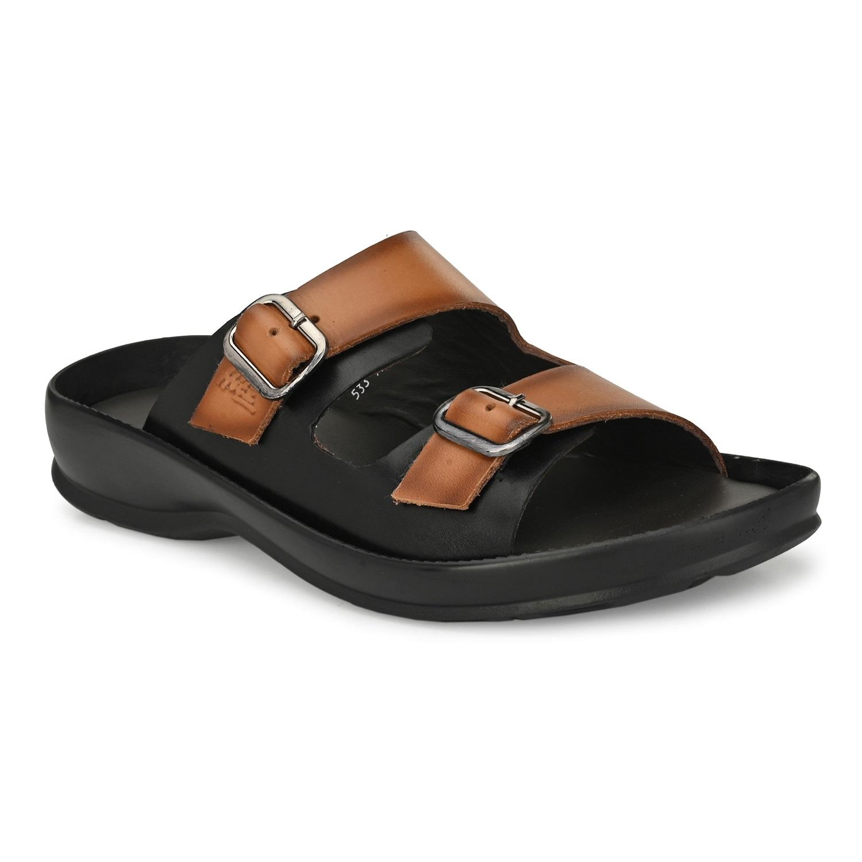 Hitz   Hitz Brown Tan Leather Dual-Strap Slippers For Men