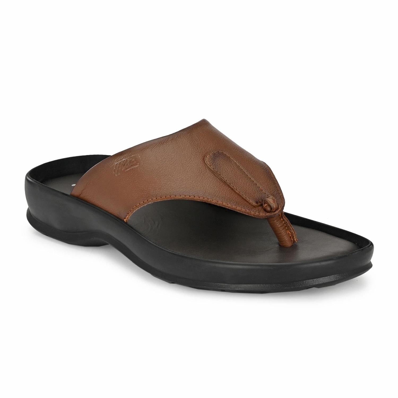 Hitz   Hitz Brown Casual Genuine Leather Slipper with Slip-On Fastening
