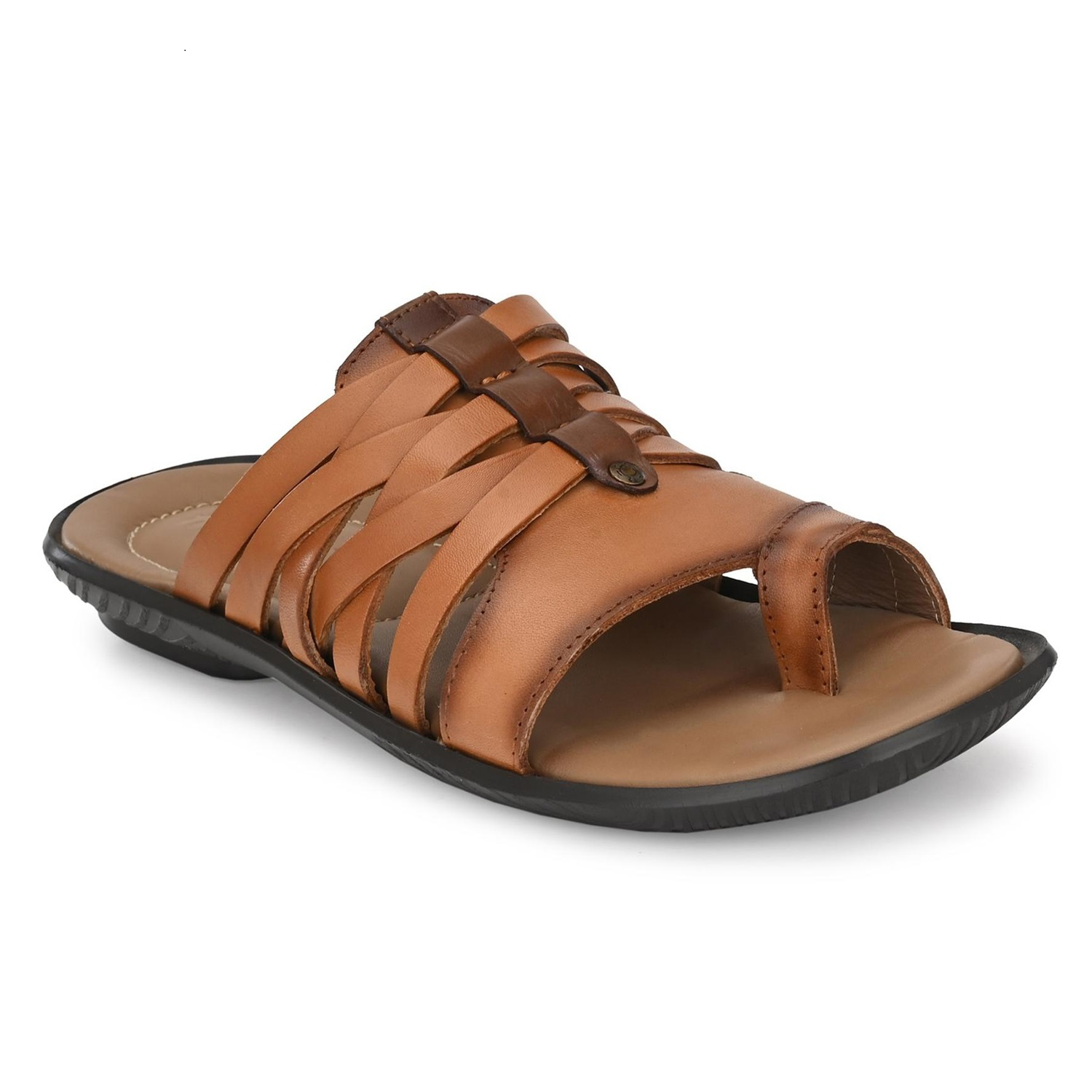 Hitz | Hitz Brown_Daily Wear Leather Slippers For Men