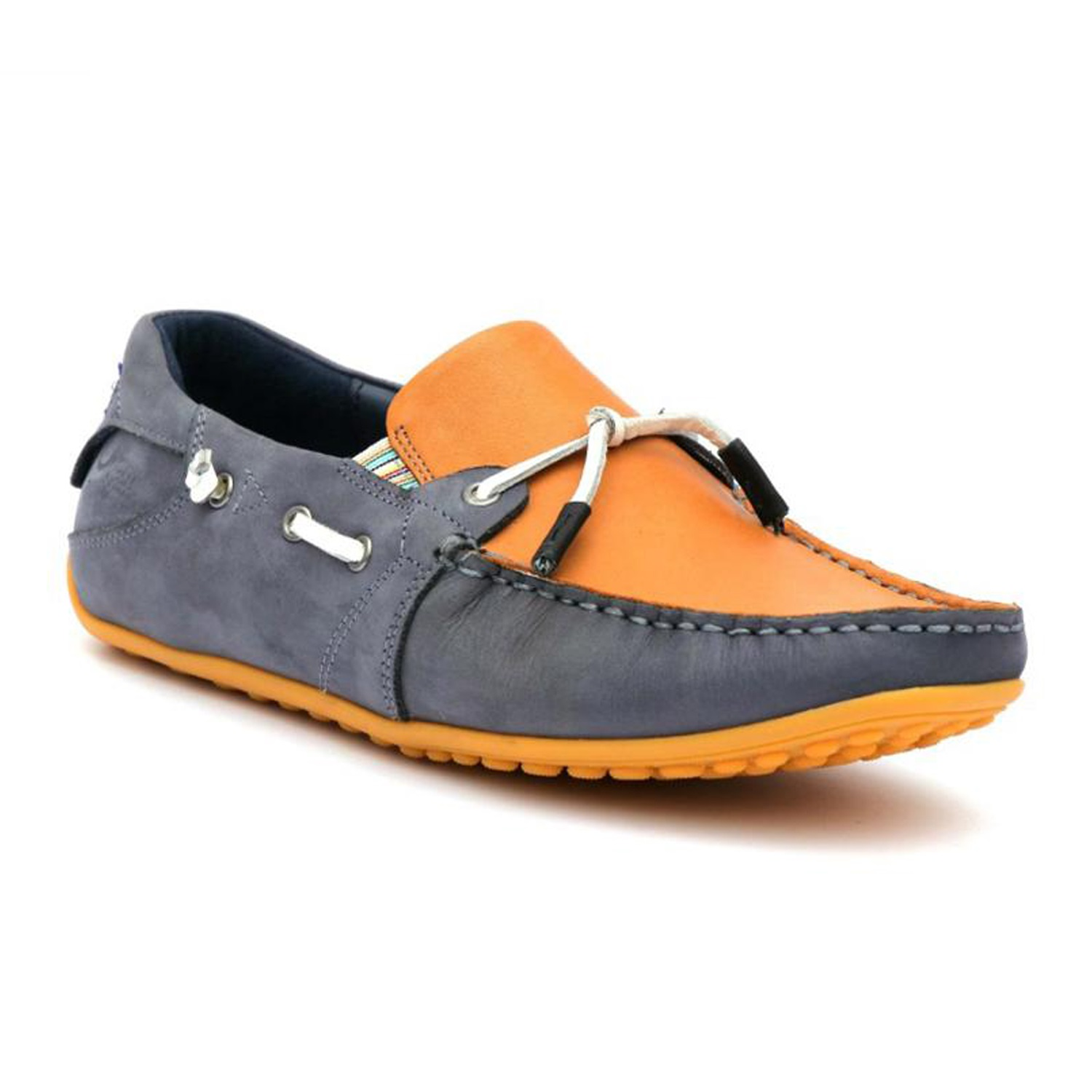Hitz | Hitz Blue Genuine Leather Casual Loafers with Slip-On Fastening