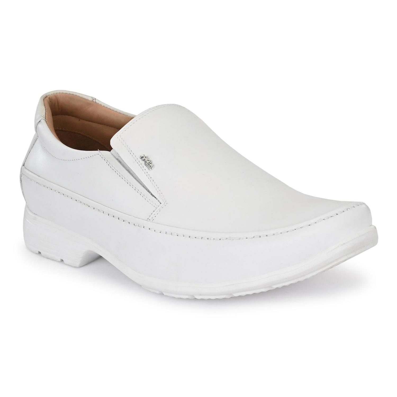 Hitz   Hitz White Leahter Comfort_ Slip-On Shoes for Men
