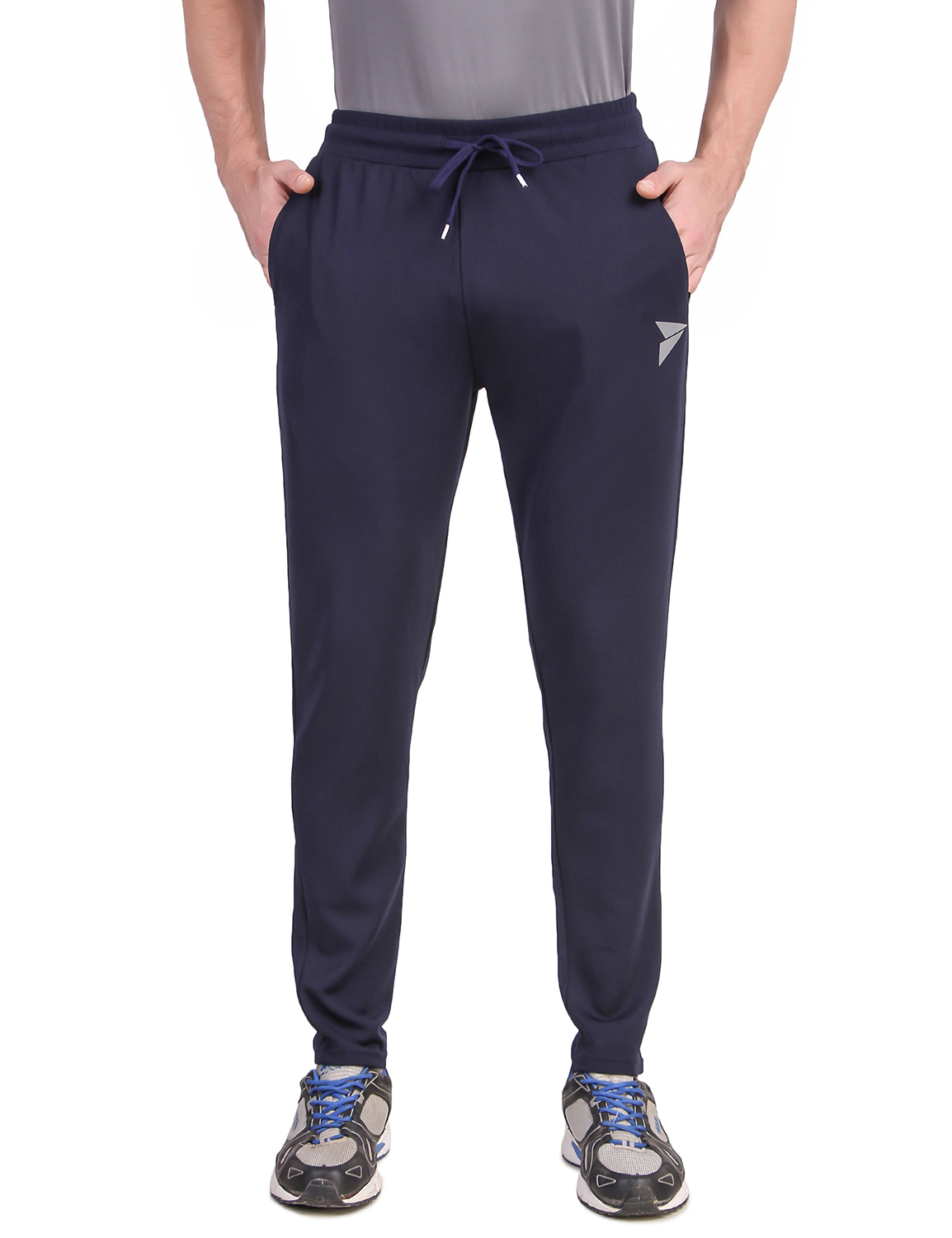 Fitinc   Fitinc Navy Blue Track Pant with Concealed Zipper Pockets