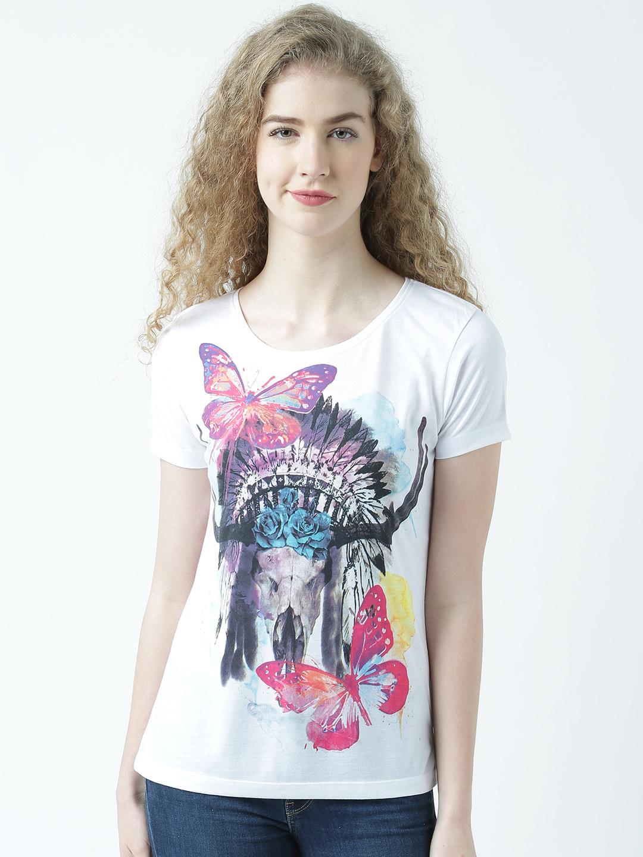 HUETRAP   Huetrap Womens Discover Yourself Round Neck Graphic Print T Shirt