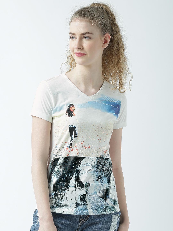 HUETRAP | Huetrap Womens Look Colourful V Neck Graphic Print T Shirt