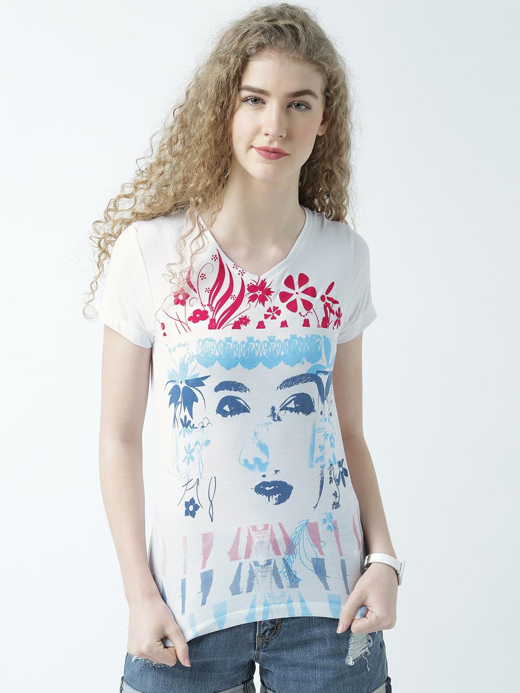 HUETRAP | Huetrap Womens Look Feminine V Neck Graphic Print T Shirt