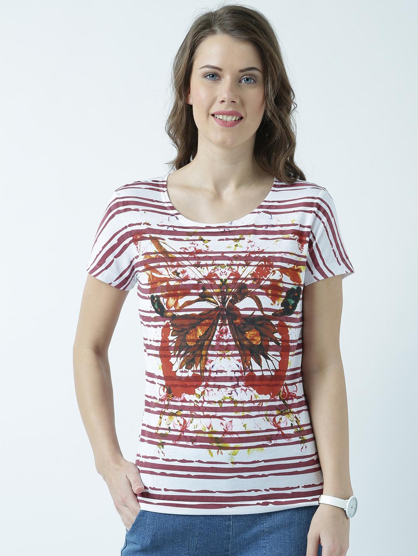 HUETRAP | Huetrap Womens Be Lively V Neck Graphic Print T Shirt
