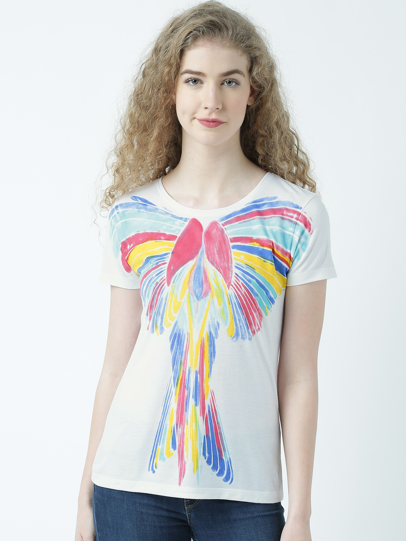 HUETRAP   Huetrap Womens Artistic Prints over White  Tshirt