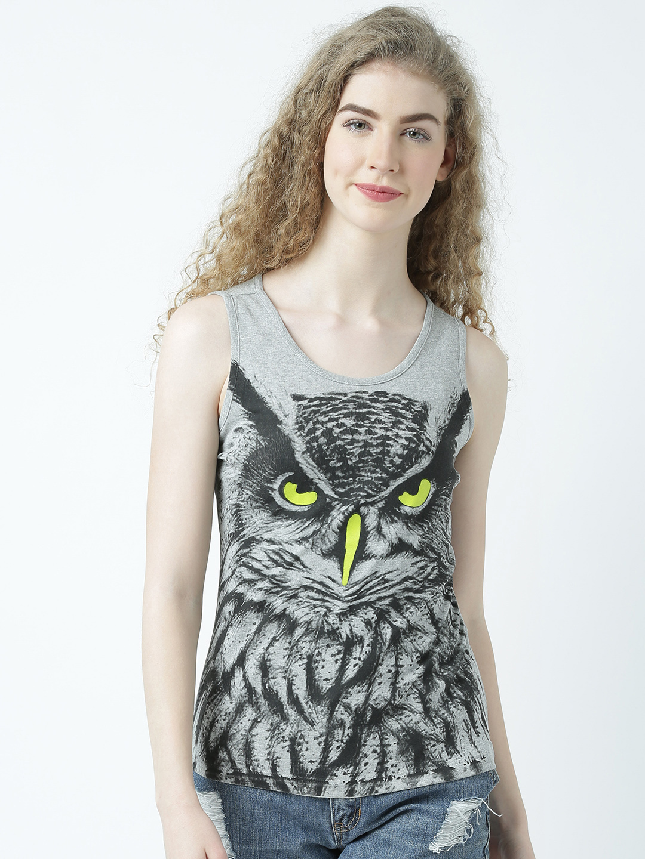 HUETRAP | Huetrap Womens Eagle Owl on Prowl White Sleeveless Tank Top