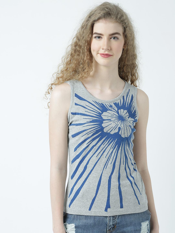 HUETRAP | Huetrap Womens Flower Splash White Sleeveless Tank Top
