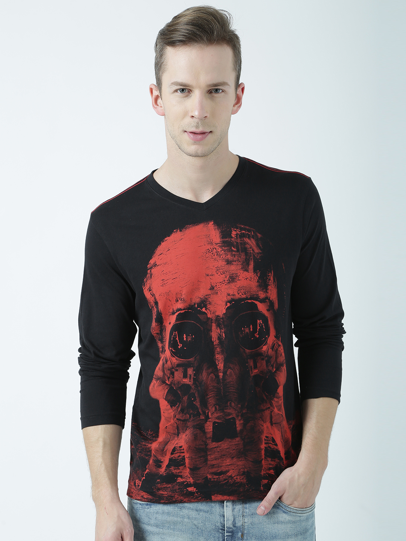HUETRAP | Huetrap Mens When the mad side has no end  Black printed T Shirt