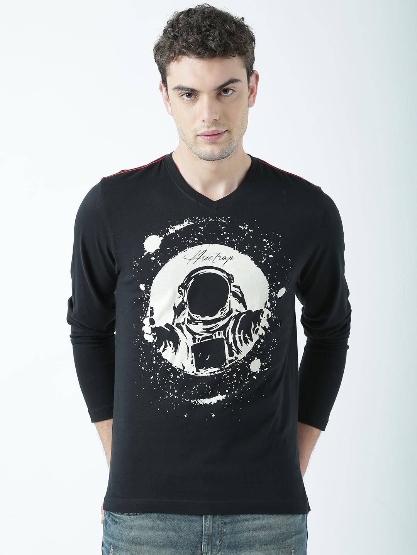 HUETRAP | Huetrap Mens Space funk  Astronaut style black printed T Shirt