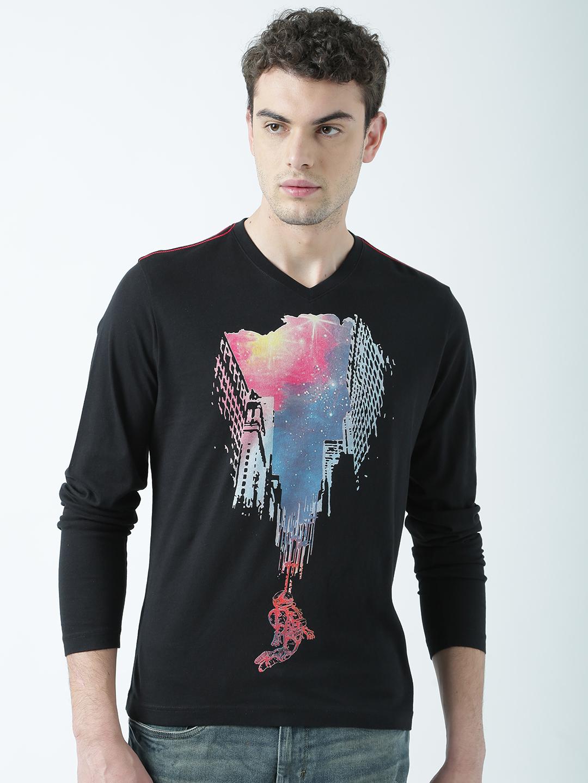 HUETRAP   Huetrap Mens Illusions of art  Black printed T Shirt