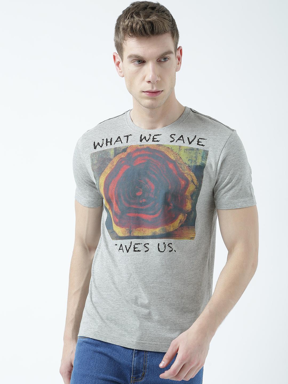 HUETRAP | Huetrap Mens Save trees Grey printed T Shirt