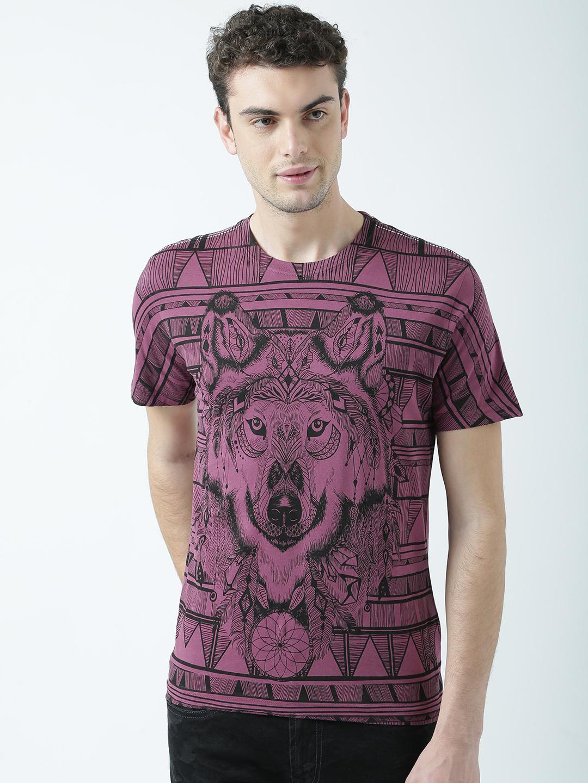 HUETRAP   Huetrap Mens Show your wild side Purple printed Tshirt