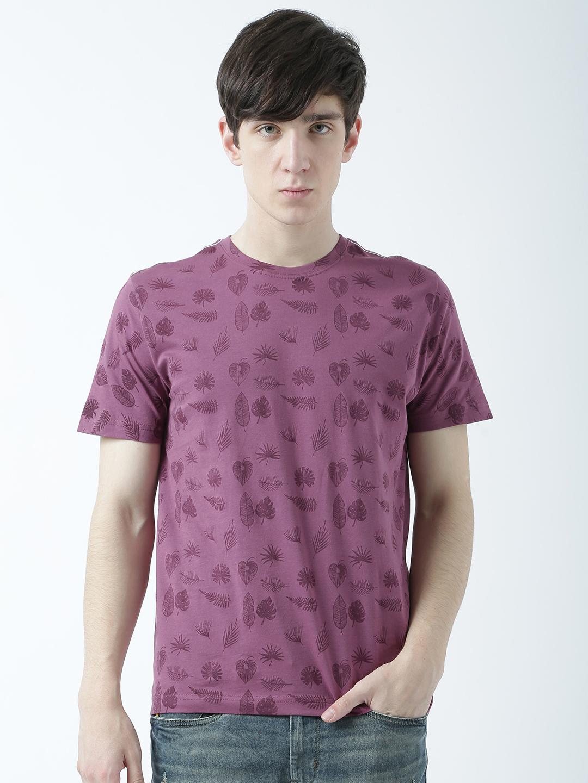 HUETRAP   Huetrap Mens Beach life Purple printed Tshirt