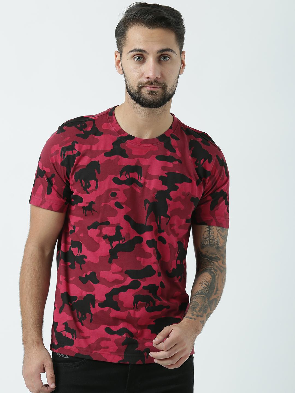 HUETRAP | Huetrap Mens Walking Wild Life  Round Neck Camouflage Printed TShirt