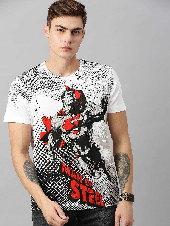 HUETRAP | Superman by Huetrap Men White & Black Printed Premium Round neck T-Shirt