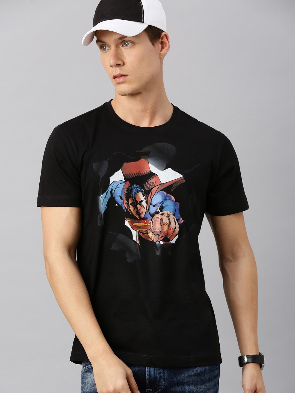 HUETRAP | Superman by Huetrap Men Black & Blue Printed Rogue Round neck T-Shirt