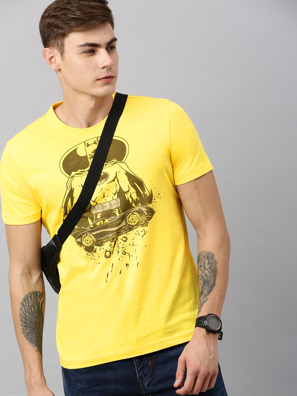 HUETRAP | Batman by Huetrap Men Yellow & Black Printed Rogue Round neck T-Shirt