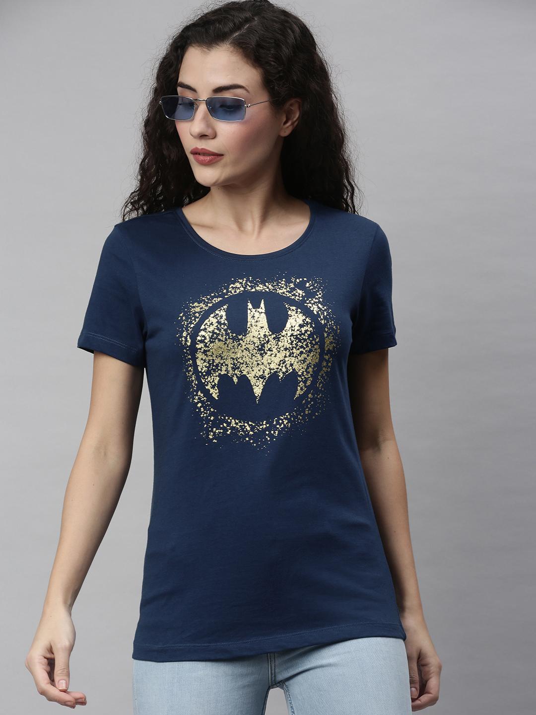 HUETRAP | Batman by Huetrap Women Navy & Gold Printed Rogue Round neck T-Shirt