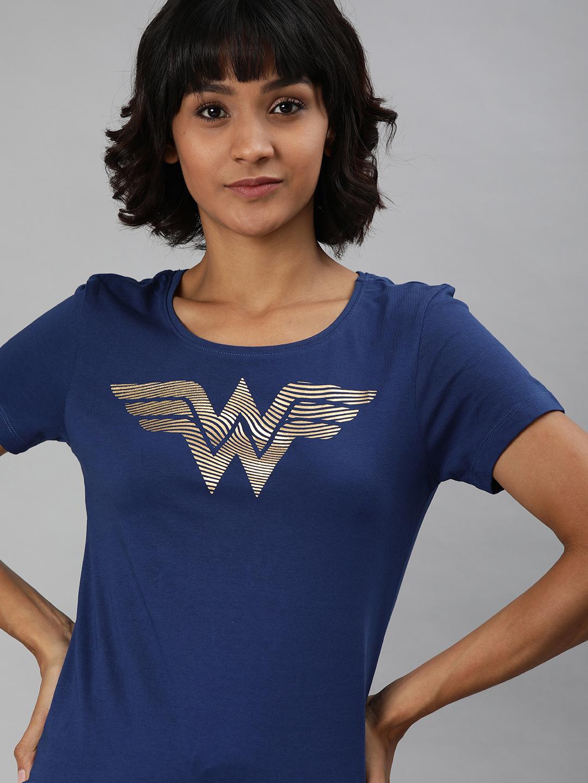 HUETRAP | WONDER WOMEN by Huetrap Women Navy Printed Rogue Round neck T-Shirt