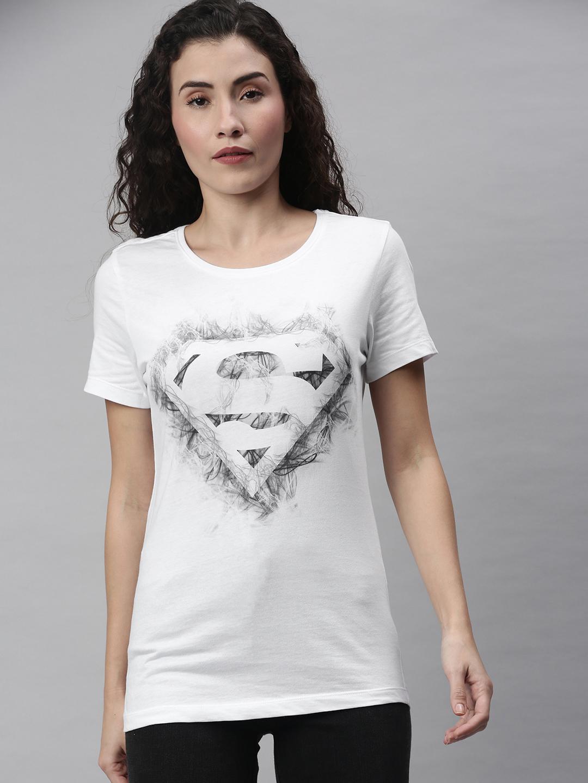 HUETRAP   Superman by Huetrap Women White & Black Printed Rogue Round neck T-Shirt