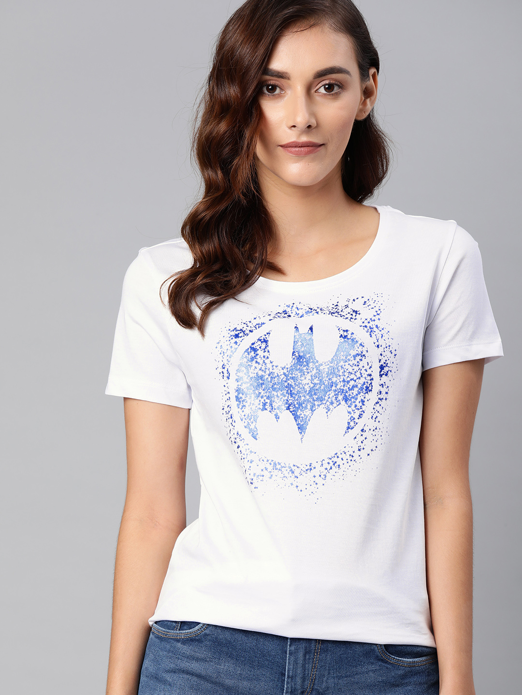 HUETRAP   Batman by Huetrap Women White & Blue Printed Rogue Round neck T-Shirt