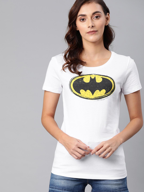 HUETRAP   Batman by Huetrap Women White & Black Printed Rogue Round neck T-Shirt