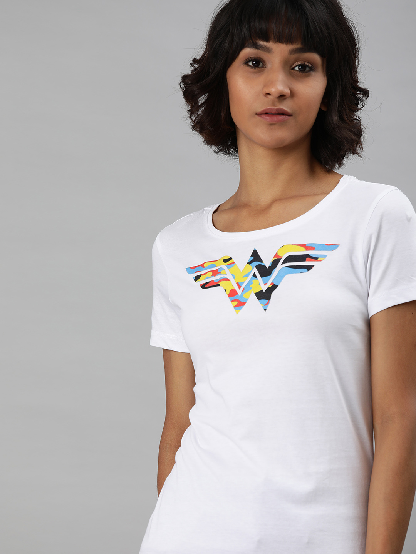 HUETRAP   WONDER WOMEN by Huetrap Women White Printed Rogue Round neck T-Shirt