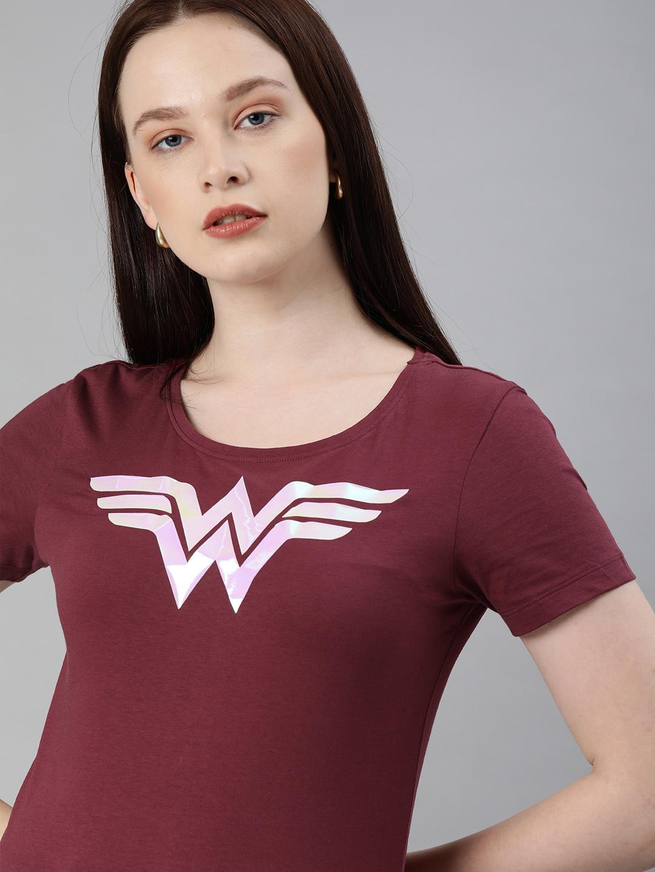 HUETRAP   WONDER WOMEN by Huetrap Women Maroon Printed Rogue Round neck T-Shirt