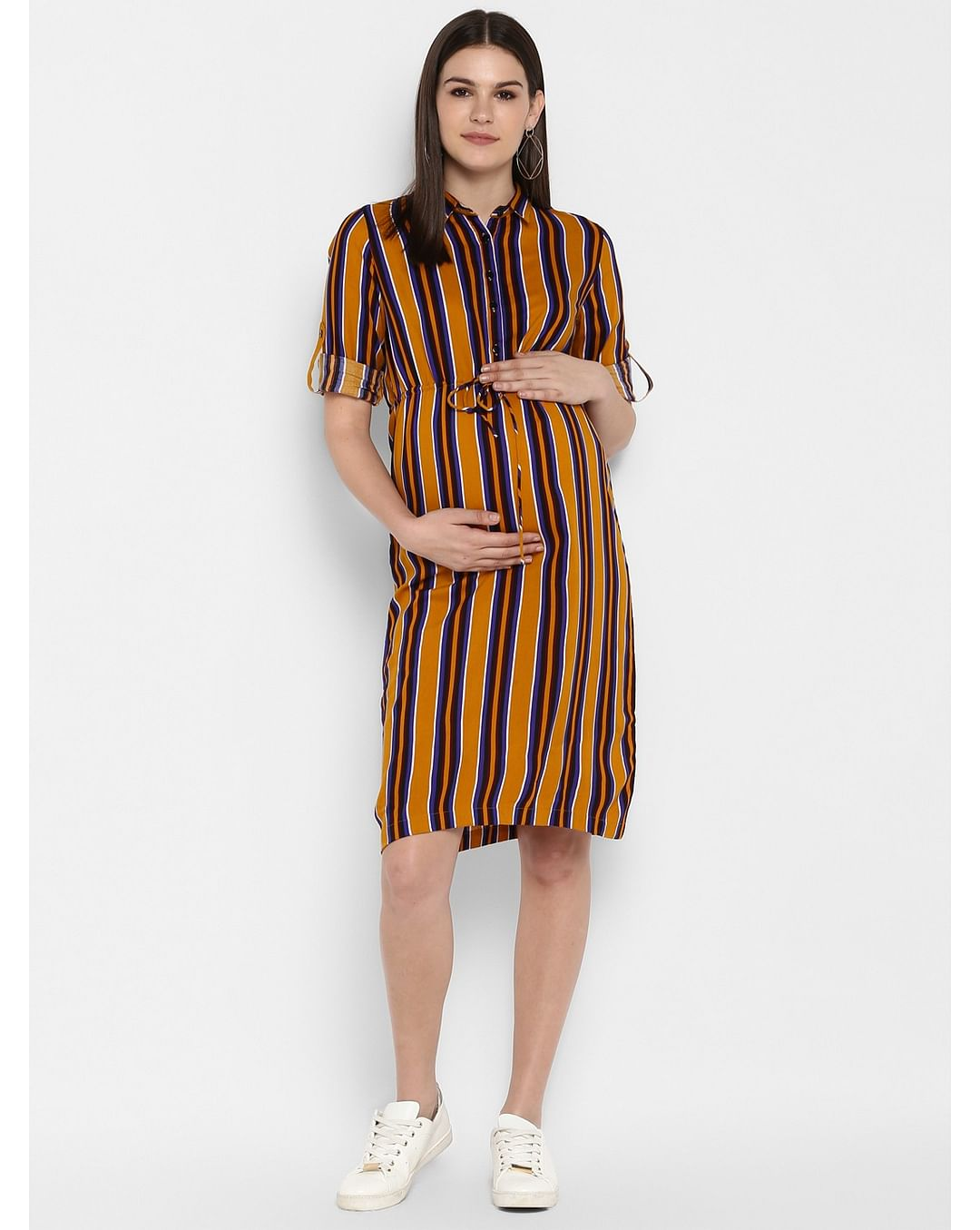 Mothercare | Momsoon women maternity three-fourth sleeves casual dress-Striped Yellow