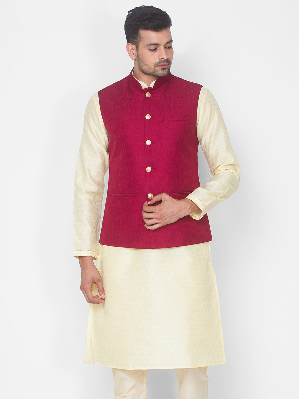 Ethnicity   Maroon Solid sleeveless jacket
