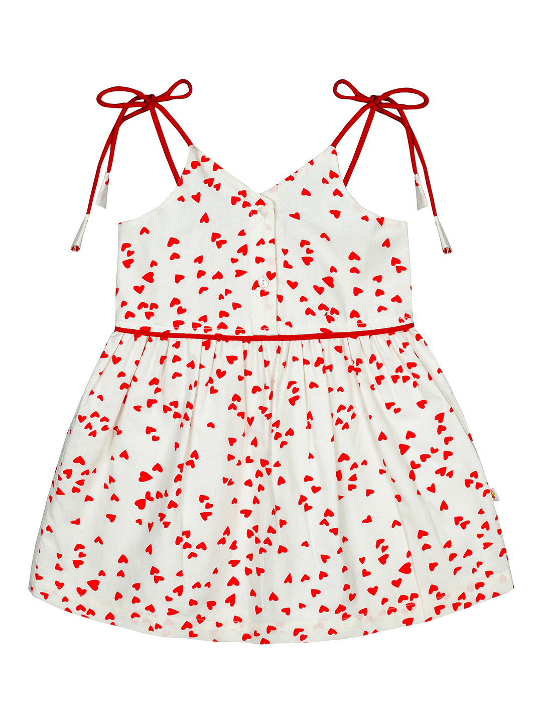 Budding Bees | Budding Bees Infants Heart Printed Dress-White