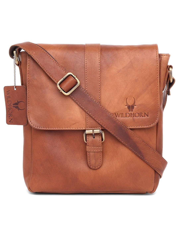 WildHorn   WildHorn Genuine Leather Tan Messenger Bag for Men