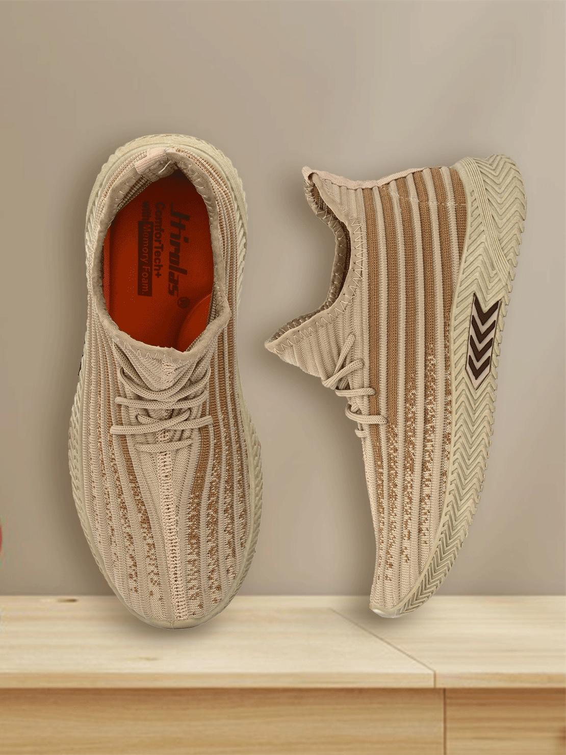 Hirolas   Hirolas® Men's Beige Knitted athleisure Gym/Running/Walking Sports Sneaker Shoes